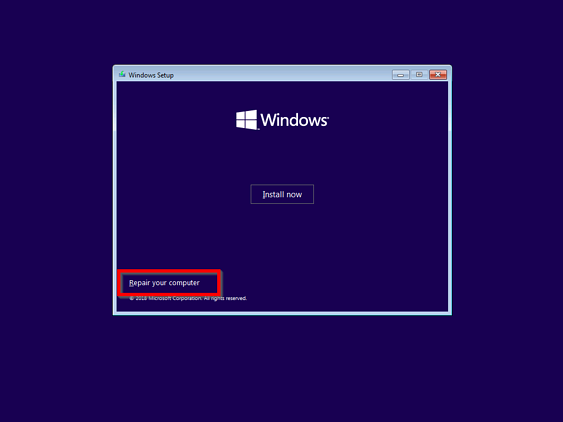windows-10-safe-mode-boot-from-installation-media-Repair-now